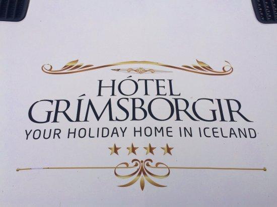 Hotel Grimsborgir : Hotel sign above the main entrance