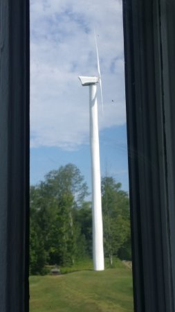 Whitefield, NH: the quiet wind turbine beside our room, on the golf course