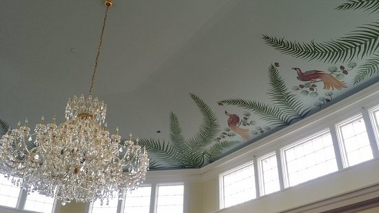 Whitefield, NH: ballroom painted ceiling and chandelier; lovely concert space