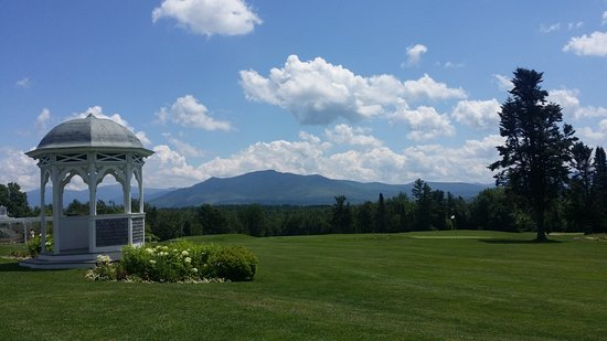 Whitefield, NH: golf course & gazebo with White Mountains in the distance