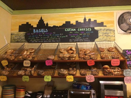 Montpelier, VT: Our bagel wall! Featuring many varieties of flavors.
