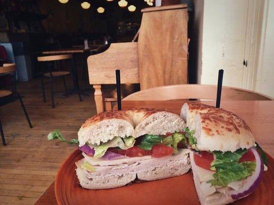 Montpelier, VT: Made-to-order turkey sandwich on an asiago bagel.