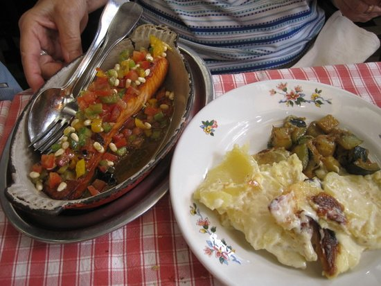 Le Musée  : This is a fish dish, with potatoes and vegetables on the side