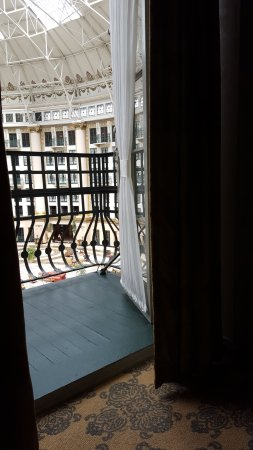 West Baden Springs, IN: Balcony from room-we are listening to a live harpist playing below...