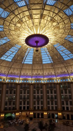 West Baden Springs, IN: When the sun set the ceiling changed colors, it was beautiful!