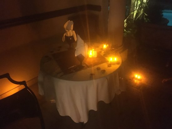 Sandals Royal Caribbean Resort and Private Island: Our butler, Andre, set up this private candle light dinner for us