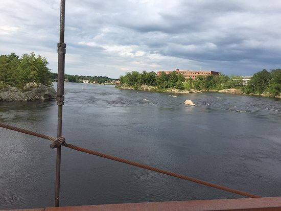 Topsham, ME: View of river from Androscoggin Swinging Bridge