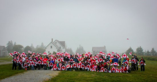 Le Village Historique Acadien de la Nouvelle-Ecosse: Canada Day 150, flying 150 kite!