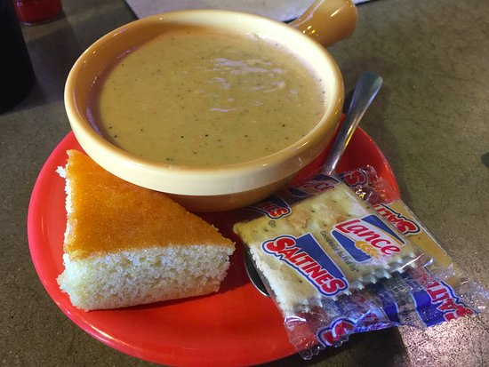 Morehead City, NC: Seafood Bisque with cornbread.
