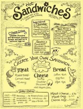 Coxsackie, NY: Menu - Sandwiches