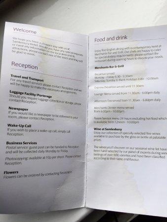 Samlesbury, UK: Stained Room menu