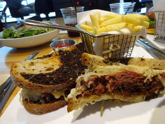 David Burke at Bloomingdales : Pastrami sandwich w/fries looked a little weird, but tasted great. Photobombed by the Caesar Sal