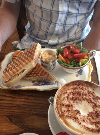 Southborough, UK: Ham and Cheese Panini with coleslaw and FRESH SALAD