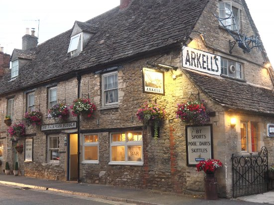 An evening view of the welcoming Plough in Fairford.