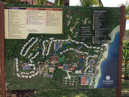 Sandos Caracol Eco Resort Map The resort map on a board. Note where these are, there are no  Sandos Caracol Eco Resort Map