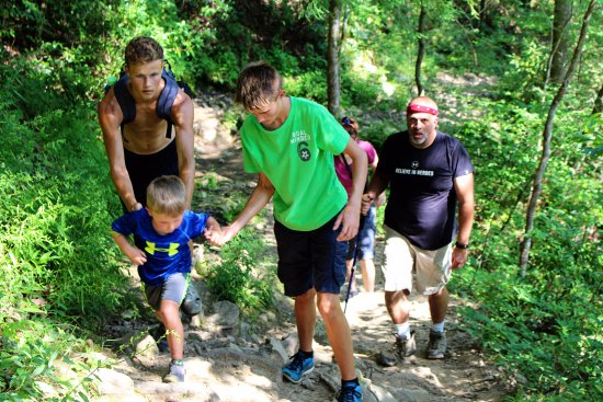 Spruce Flats Falls: The younger ones need help on this trail