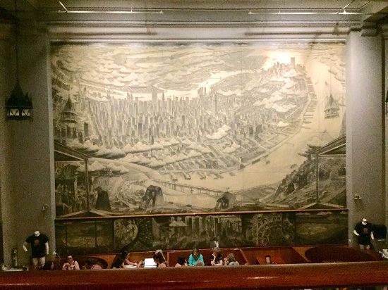 Huge wall mural downstairs Try eating upstairs Picture of