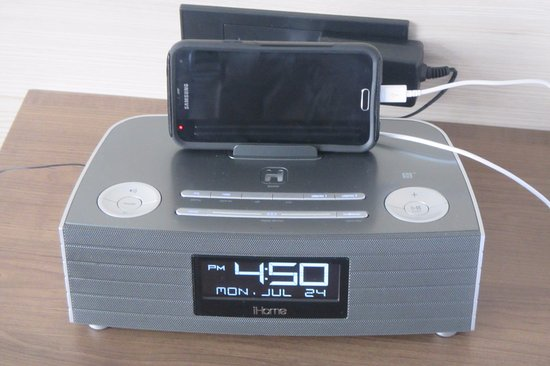 Medina, OH: iHome alarm clock w/ Bluetooth and a built-in USB port. Outlet has two more.