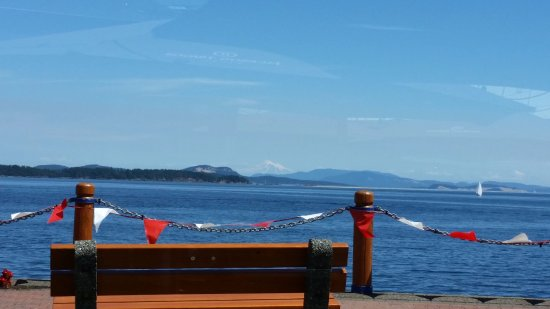 Rumrunner Pub: View from our table of Mt. Baker