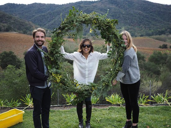 Carmel Valley, CA: At our annual Wine and Wreaths, wine club members make wreaths out of vines from the vineyard.