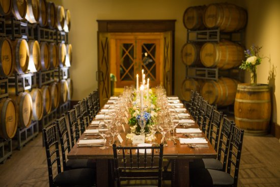 Carmel Valley, CA: Our barrel room at the tasting room is perfect for rehearsal dinners and blending seminars!