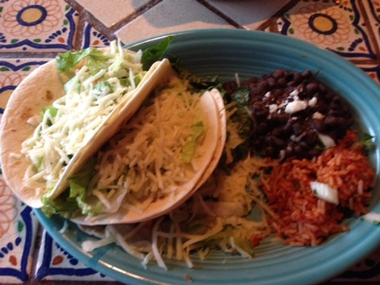 East Hartford, CT: chicken tacos with beans and rice
