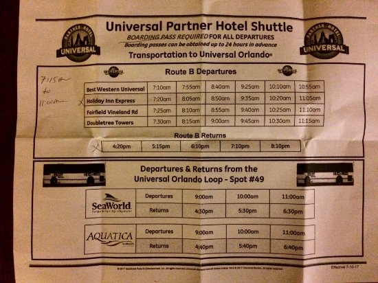 Comfort Suites: Shuttle schedule as of July 2017