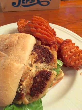 Darby's Tavern: Crab Cake Sandwich w/Sweet Potato Fries