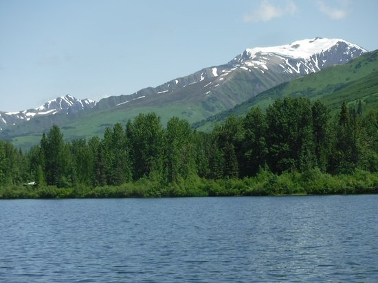 Moose Pass, AK: View of mts. while we are paddling the canoe.