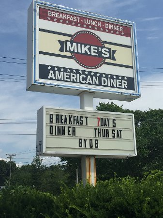 Arundel, ME: Sign for Mike's American Diner