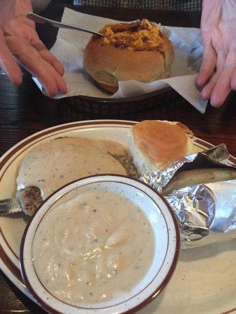 Black Bison Pub: Chicken fried steak, lots of gravy with baked potato. Chili in bread bowl.