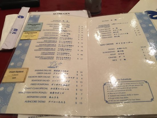Menu And Interior Picture Of Sushi Gen Los Angeles Tripadvisor