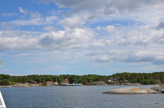 Arholma, Suède : Blick von der Fähre auf die Insel