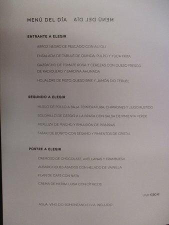 Barbastro, Spagna: Menú del día (25 de Julio de 2017 - Día de la apertura de las nuevas instalaciones).