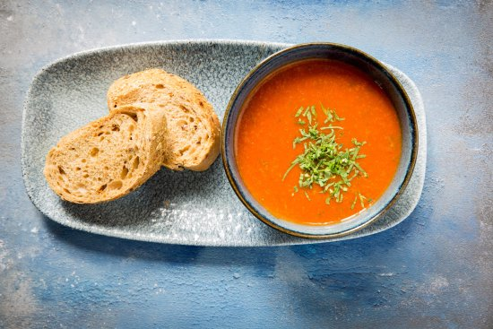 Little Budworth, UK: Homemade Soup of the Day served with bread.