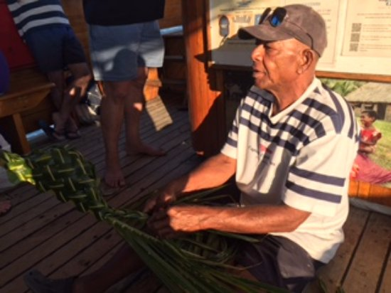Denarau Island, Fiji: Making palm baskets