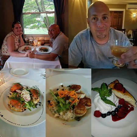 Jeffersonville, VT: Date night. We enjoyed smoked salmon with caviar, scallops & lobster risotto, key lime cheesecak