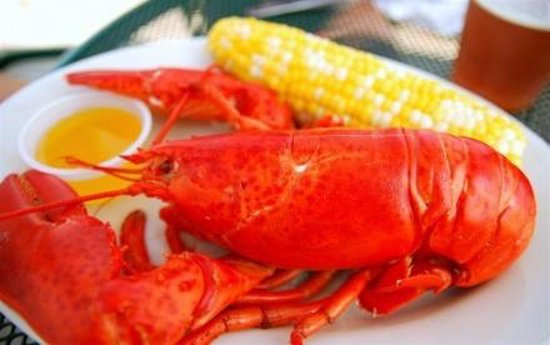 Centerport, NY: 1 1/4 lb steamed Lobster Dinner. Vegetable is seasonal. Limited quantity. Served until sold out.
