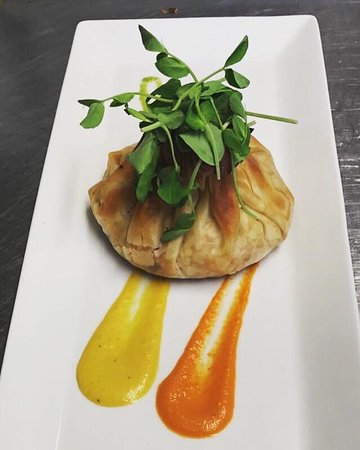 Ammanford, UK: Filo pastry parcel with sweet potato parsnip and cranberries