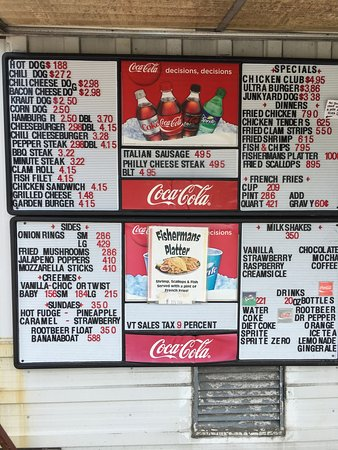 Grand Isle, VT: Menu at Kim's Snack Bar