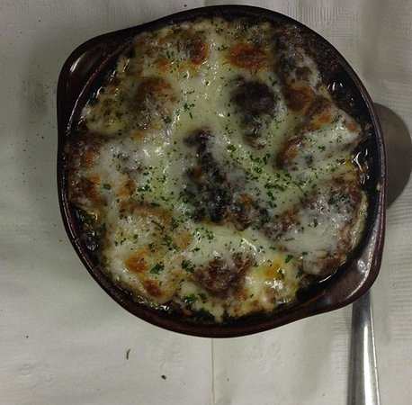 West Forks, ME: Our very popular, homemade french onion soup !