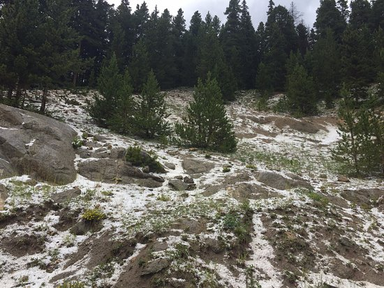 Idaho Springs, CO: Hail on the way back from glacier hike