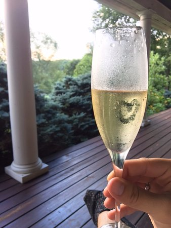 The Welsh Hills Inn: champagne for the newlyweds on the porch!