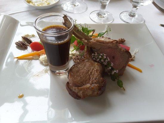 Killorglin, Ireland: The rack of lamb (€32) - veg and potato costs another €4