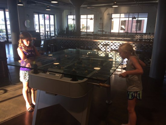 Boulevard Brewing Company: the girls playing Foosball