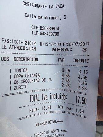 La Vaca: Arnaque dans un Bar de San Sebastián  Pas de prix des boissons sur la carte et après mauvaise s