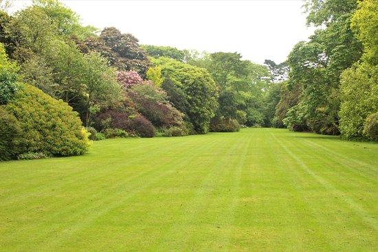 Grampound, UK: grasveld gezien vanaf achterzijde kasteel