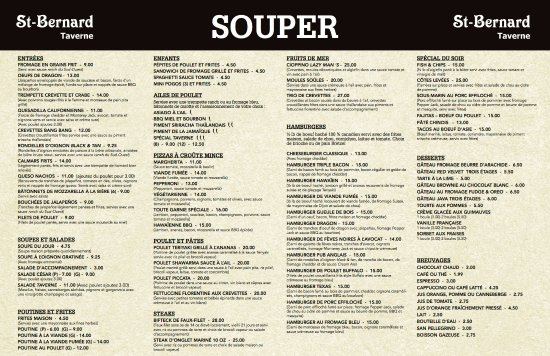Saint-Bernard-de-Lacolle, Canada: Dinner Menu - Please visit our Facebook page to see our complete lunch menu