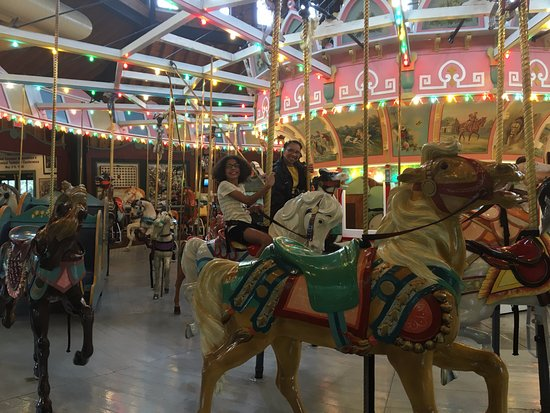 Holyoke, MA: Riding this Lovely Historical Carousel from back in the 1800's.