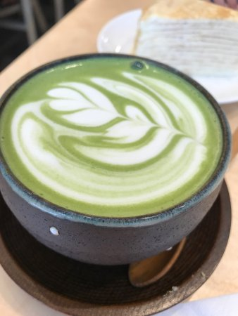 Japanese style desserts with green tea and Mille crepe